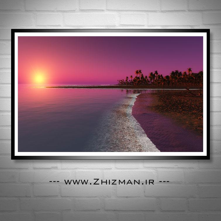 عکس غروب آفتاب کنار دریا