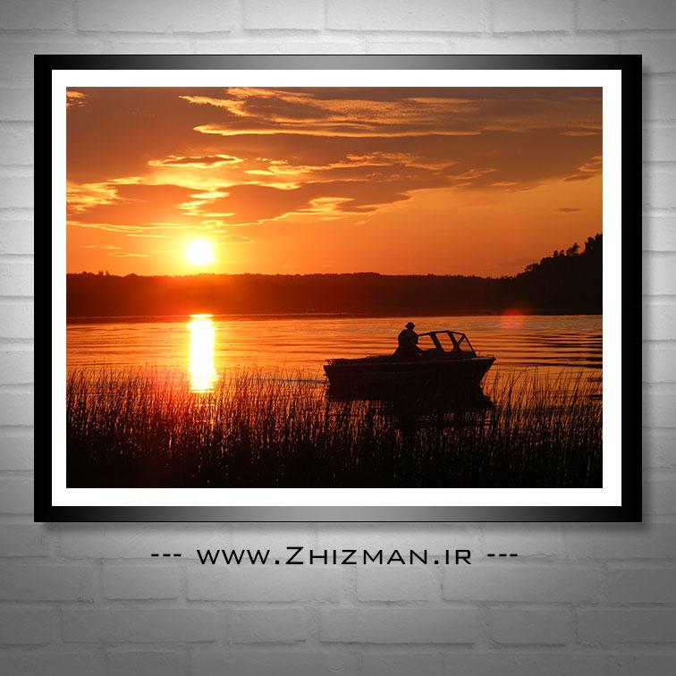 عکس قایق و غروب آفتاب