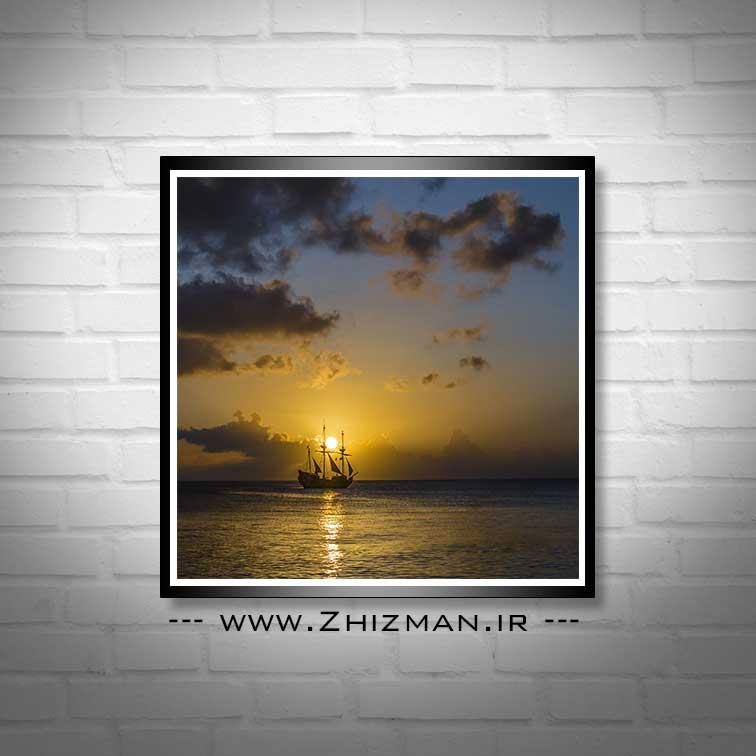 عکس کشتی و غروب