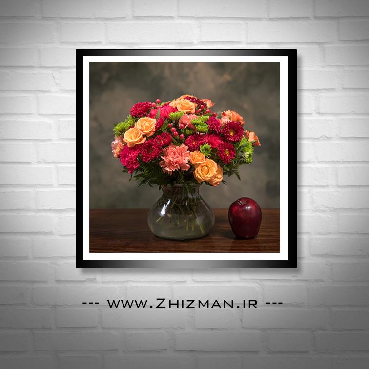عکس گلدان گل و سیب
