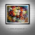 نقاشی آبرنگ گل و گلدان رز و جام