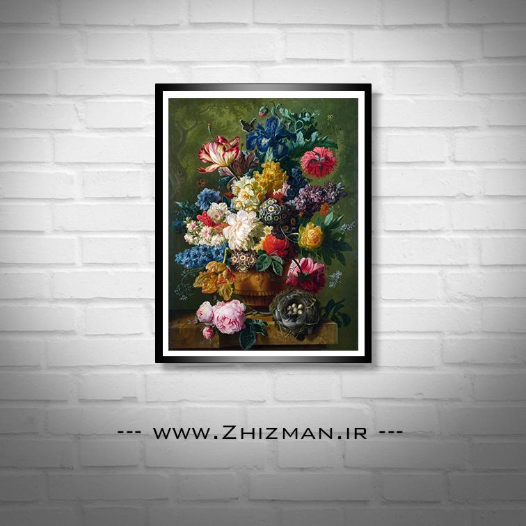 نقاشی رنگ روغن گلدان گل