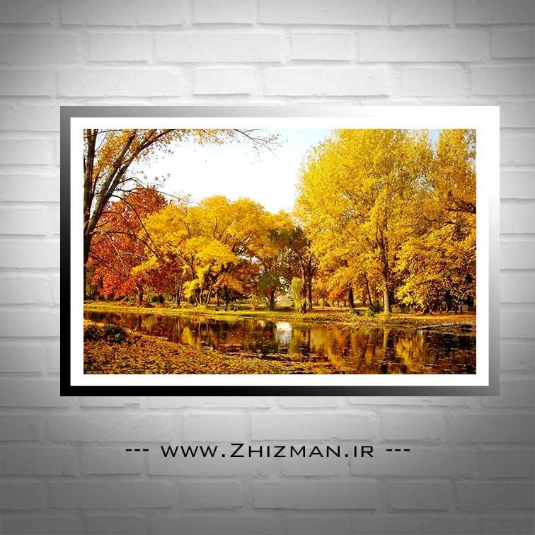 عکس درختان پاییزی و رود
